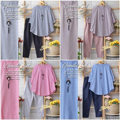 Foto Produk New Gemila Set Setelan Celana Wanita Baju Kerja Modis Motif Salur dari Ilyassa Shop