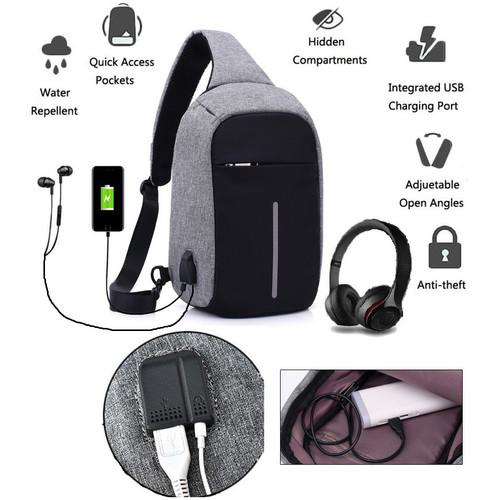 Foto Produk tas selempang kanvas pria/sling bag/tas slempang Cowok USB dari ONEHAND OFFICIAL STORE