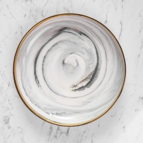 Foto Produk Piring Makan Marble Pinggiran Emas Marble Plate Gold Rim 8inch dari Houseofbuds