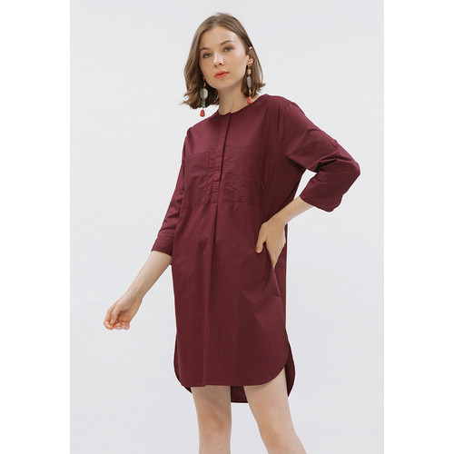 Foto Produk Minimal Tunic Dress With Pocket Maroon - S dari minimal