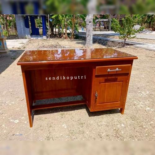 Foto Produk meja kantor 1 2 biro kayu jati meja kerja dari mebelsendikoputri