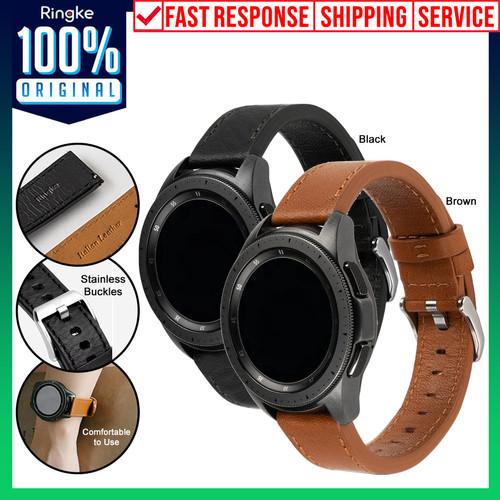 Foto Produk Strap Galaxy Watch 3 45mm / 41mm RINGKE Leather One Classic Kulit Band - 41mm, Black dari Unicase Store