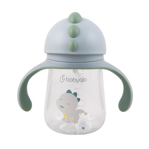 Foto Produk Babyqlo Dino Baby Straw Cup With Handle / Botol Minum Anak Dino-BQ 700 - Abu-abu dari Babyqlo Official