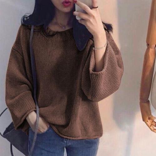 Foto Produk Baju Blouse Wanita Rajut Knit Chiara Top Korean Style - Brown dari snb_catwalk