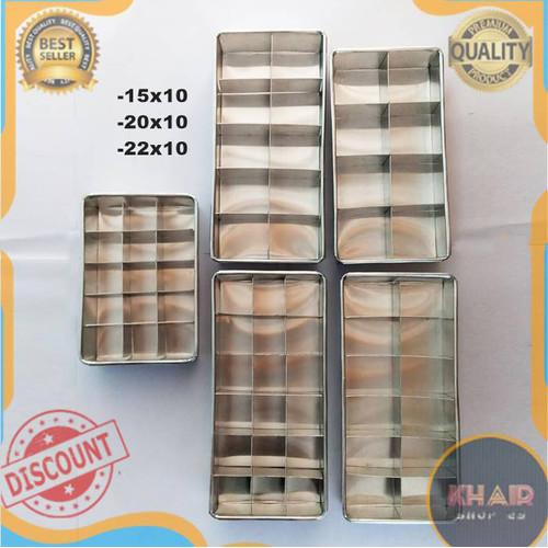 Foto Produk Loyang brownies sekat ukuran 20x10 dan 22x10 cm Cetakan brownies - 10x10 4 sekat, Hanya sekat dari KhairaShop25
