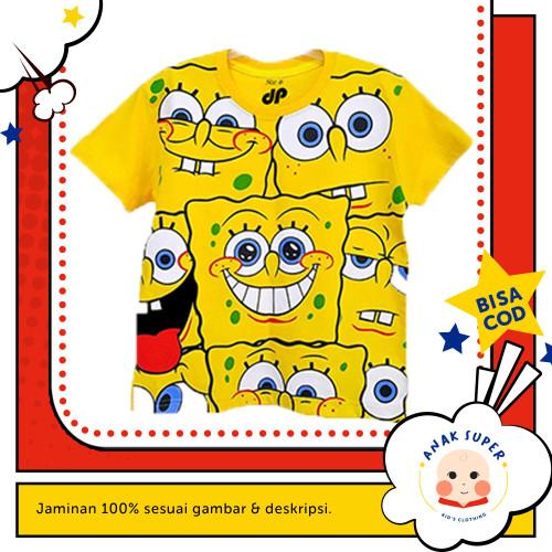 Foto Produk Baju/Kaos Anak Lengan Pendek Motif Spongebob Full print 1 - 10 Tahun - 1-2 Tahun dari Anak Super