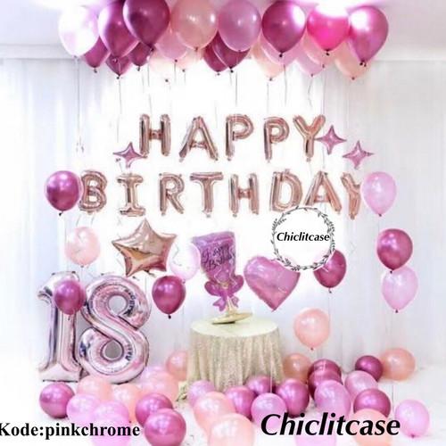 Foto Produk Set paket balon ulang tahun chrome pink red dekorasi birthday fancy dari chic lit case
