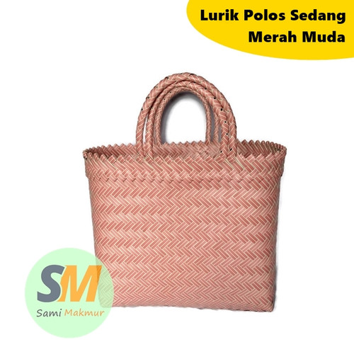 Foto Produk Tas Anyaman Plastik Lurik POLOS SEDANG / Tas Souvenir Murah Parcel - Merah Muda dari Sami Makmur Ngawi