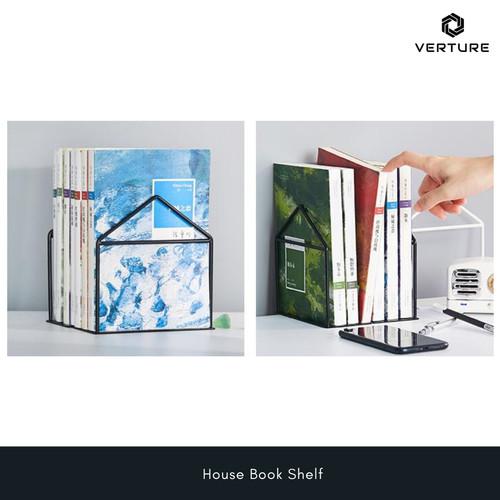 Foto Produk Verture Pembatas Buku Besi Model Rumah / House Book Shelf - Putih dari Verture wire