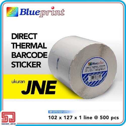 Foto Produk Direct Thermal Sticker Label 102 x 127 mm Blueprint Barcode Resi JNE dari Sadar Jaya Mandiri