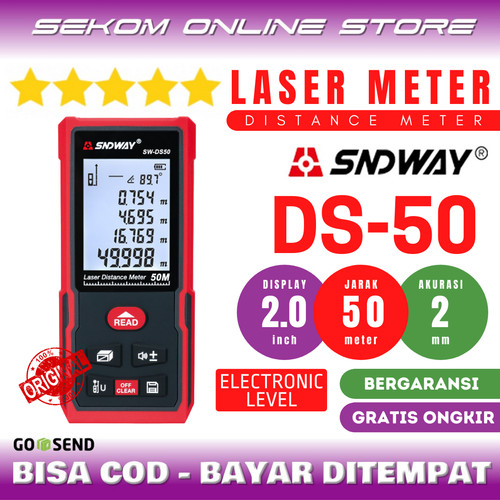 Foto Produk SNDWAY Meteran Laser Digital Distance 50 Meter SW-DS50 dari SEKOM ONLINE STORE