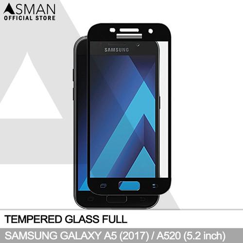 Foto Produk Tempered Glass Full Samsung Galaxy A5 (2017)   Anti Gores Kaca - Hitam dari Asman official