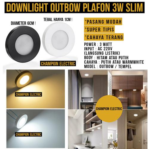 Foto Produk Lampu Downlight Outbow Tempel Slim Tipis 3Watt 3 Watt 3W Rak Lemari - KUNING-WARMWHIT, Cover Putih dari Champion Electric