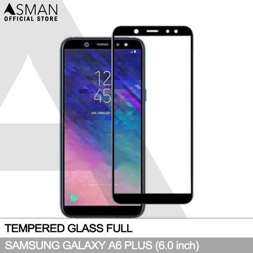 Foto Produk Tempered Glass Full Samsung Galaxy A6 Plus   Anti Gores Kaca - Hitam - Hitam dari Asman official