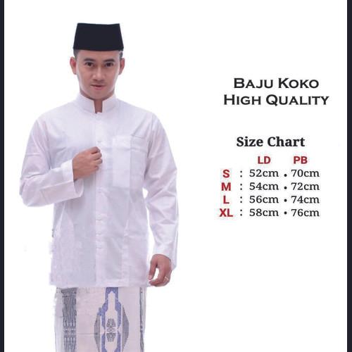 Foto Produk Baju Muslim Polos Warna Putih Lengan Panjang Baju Koko Pria Polos - S dari saqila_shop