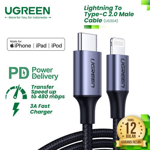 Foto Produk UGREEN Kabel USB-C to Lightning Nylon Braided (Fast-Charging) - US304 - Silver, 1 Meter dari UGREEN Authorized Store