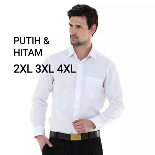Foto Produk kemeja BIG SIZE alisan jumbo putih & hitam lengan panjang polos - Putih, XXXL dari harden