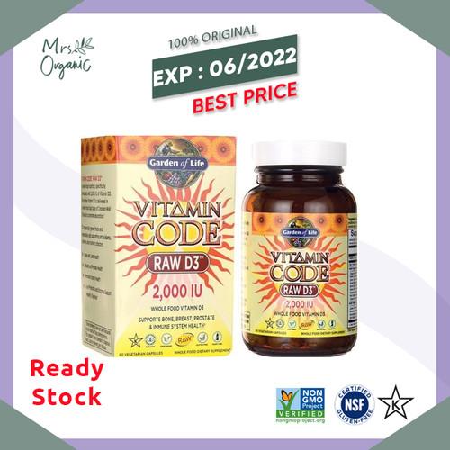 Foto Produk Garden of Life, Vitamin Code, RAW D3, 2,000 IU, 120 Vegetarian Capsule dari Mrs Organic