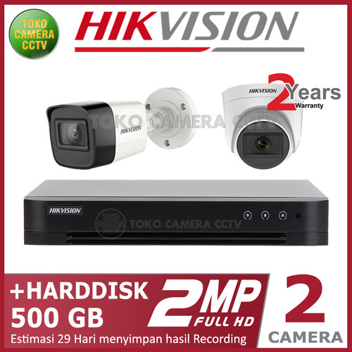 Foto Produk PAKET CCTV HIKVISION 2MP 4 CHANNEL 2CAMERA HDD 500GB dari TOKO CAMERA CCTV