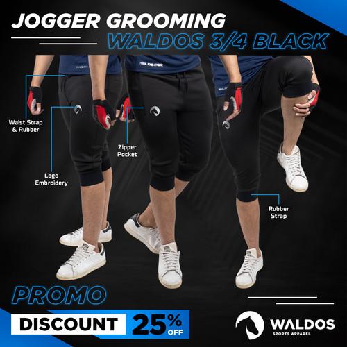 Foto Produk Jogger Waldos 3/4 Half Pants Zipper - Hitam, M dari Waldos Sports Apparel