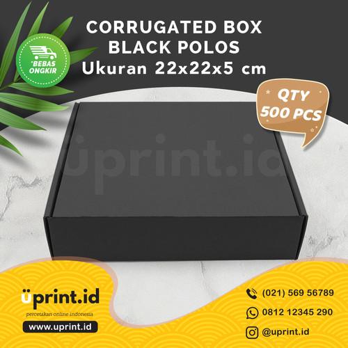 Foto Produk CORRUGATED BOX BLACK POLOS|BOX HAMPERS| 22x22x5 cm | QTY 500pcs dari Uprint.id