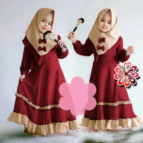 Foto Produk Baju Gamis Syari Muslim Anak Perempuan Umur 3-5 Tahun Murah Terbaru - maroon, S dari damris shop