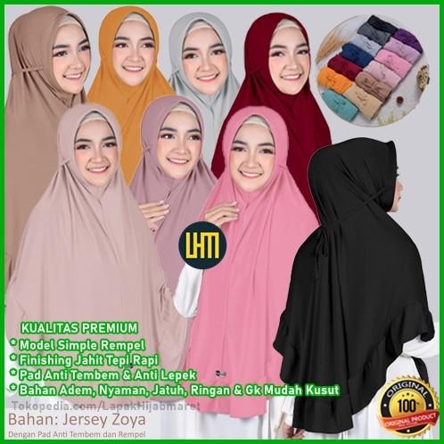 Foto Produk Hijab Khimar Bergo Tali Belakang Rempel Polos Jersey Kualitas Premium dari LAPAK HIJAB MARET