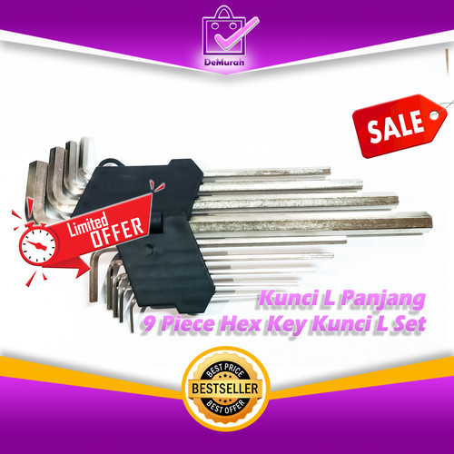 Foto Produk 0459 Kunci L Panjang 9 Piece Ball Point Hex Key Kunci L Set dari Demurah Dot Com