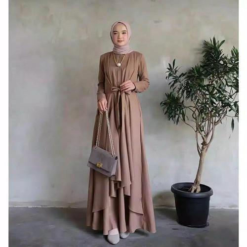 Foto Produk Baju Gamis Syari Wanita Terbaru Aluna Maxi Dress Termurah - Plum dari hijabafwa