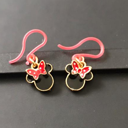 Foto Produk Anting Anak Minnie Mouse Black head Red Bow Mini kait plastik merah dari Rita Handycraft