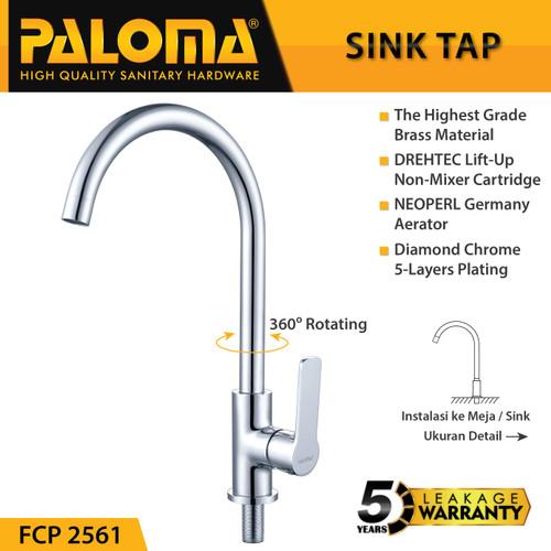 Foto Produk PALOMA FCP 2561 Keran Sink Angsa Cuci Piring Dapur Wastafel Kran Air dari PALOMA HARDWARE