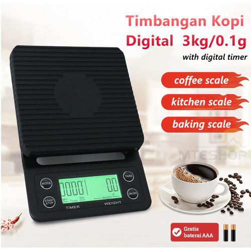Foto Produk Timbangan Kopi Digital 3KG / 0.1GR Timer V60 Drip Coffee Scale dari MTEshop