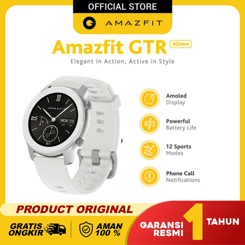 Foto Produk Amazfit GTR 42mm Smartwatch International Version Garansi Resmi - Moonlight White dari Amazfit Official