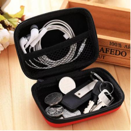 Foto Produk Travel case headset pouch earphone tempat kabel charger dompet coin - Merah Muda dari yaxiya666