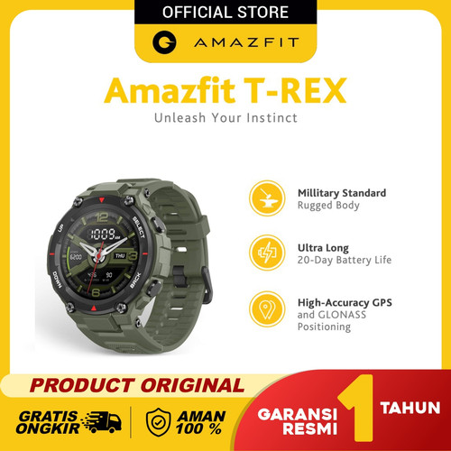 Foto Produk Amazfit T-Rex Smartwatch With 12 Military Certification Garansi Resmi - Army Green dari Amazfit Official