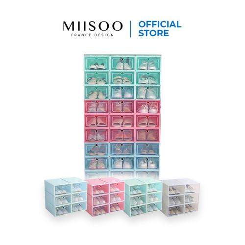 Foto Produk MIISOO Kotak Sepatu Transparan Slide Model Laci / Cover Shoes Case - Hijau dari Miisoo Official Shop