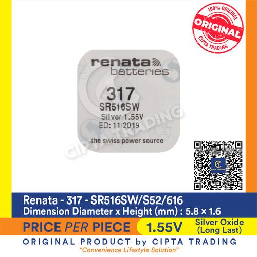 Foto Produk Button Cell - Renata - 317 (SR516SW) dari Cipta Trading