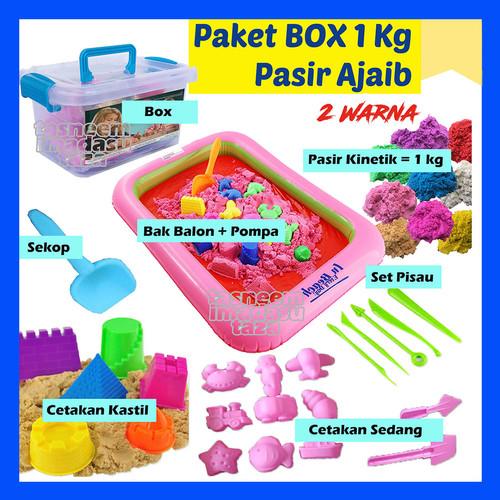 Foto Produk Mainan BOX MINI Pasir AJAIB 1 KG, Mainan Anak Cewek, Cowok, Perempuan - 2 Warna dari Tasneem