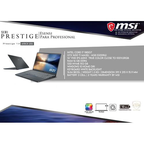 Foto Produk LAPTOP MSI PRESTIGE 14 A11SCX 232 ( i7-1185G7 / GTX1650 MaxQ - 4GB) dari MSI Store by Megastar