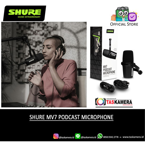 Foto Produk SHURE MV7 Podcast Microphone - SHURE Mic MV7 dari taskamera-id