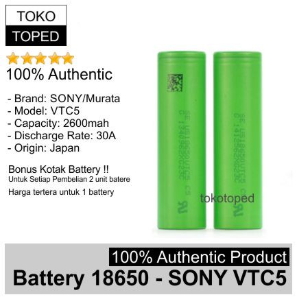 Foto Produk Authentic Battery 18650 Sony VTC5 2600mAh 30A | original baterai vtc 5 dari deKloud