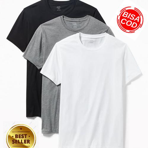 Foto Produk PROMO 3 PCS!! kaos polos pria premium cotton combed 30s S M L XL XXL - S dari kanayashop67