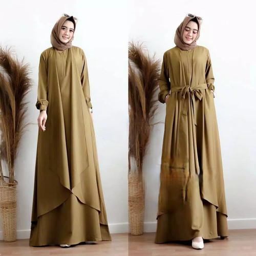 Foto Produk Jumbo Big Size | 5L XXXL XXL XL L M S | Pr | Dress Maxi Gamis Aluna - olive, S dari nol_km