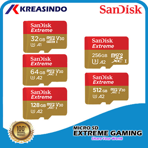 Foto Produk Sandisk Extreme A2 Microsd Mobile Gaming 32gb 64gb 128gb 256gb 512gb - 64gb dari Kreasindo Online