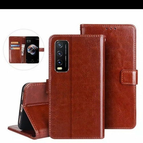 Foto Produk Flip Cover Kulit Leather Case Vivo Y20 Y20i Y20s Book Kulit Dompet dari sense accessories