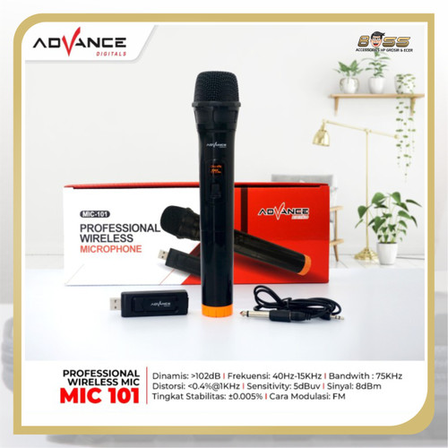 Foto Produk MIC WIRELESS SINGLE ADVANCE 101 MICROPHONE ADVANCE 101 dari Boss Muda88