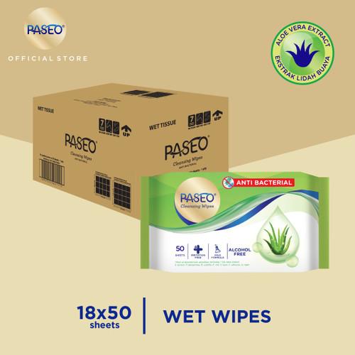 Foto Produk Karton - Paseo Tissue Basah Anti Bacterial 50 Sheets x 18 pcs (Karton) dari Paseo Tissue Official