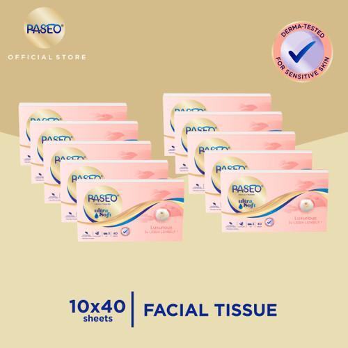 Foto Produk Paseo Ultra Soft Tissue Wajah Travel Pack 40 Sheets x 10 Pack dari Paseo Tissue Official