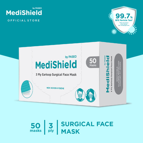 Foto Produk Medishield by Paseo Masker Surgical Earloop 3Ply Box Isi 50 Pcs / Box dari Paseo Tissue Official