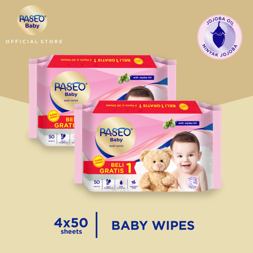 Foto Produk Paseo Baby Tissue Basah Jojoba 50 Sheets x 2 Pack (Buy 1 Get 1 FREE) dari Paseo Tissue Official